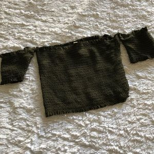 Ruched green crop top